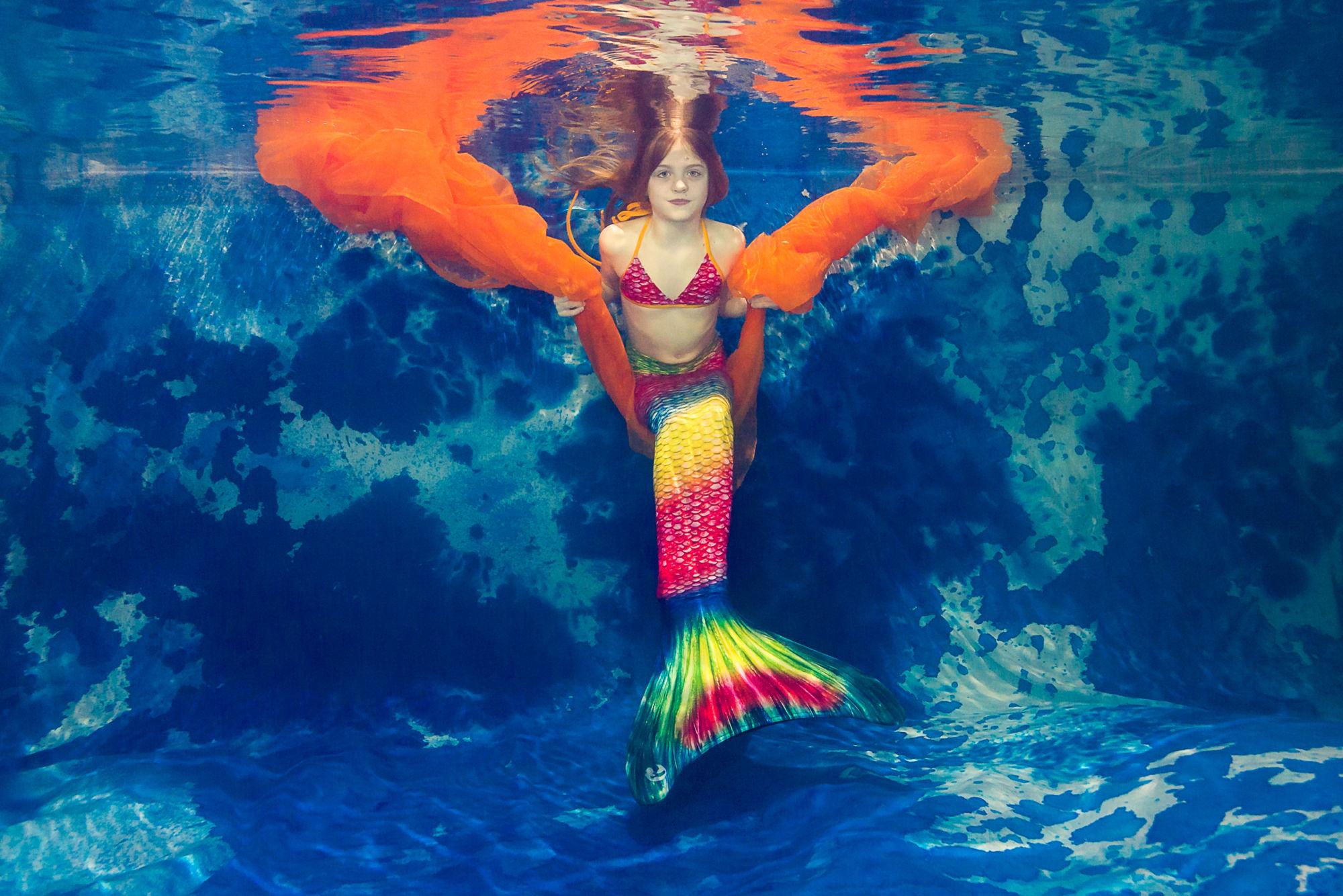Focení vkostýmu mořské panny pod vodou